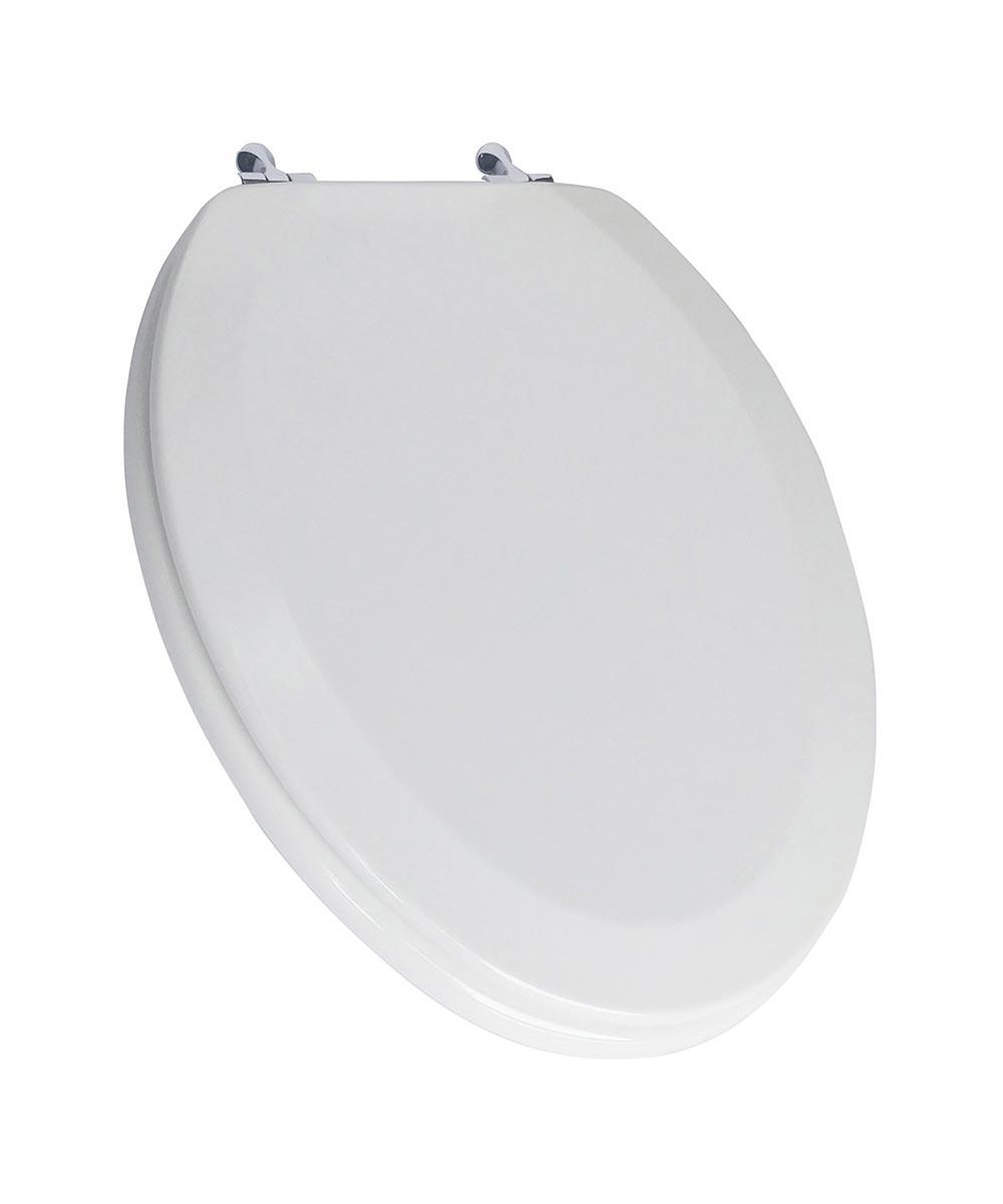 Jones Stephens Deluxe Elongated Wood Toilet Seat with High Gloss Enamel Finish & Chrome Metal Hinge, White