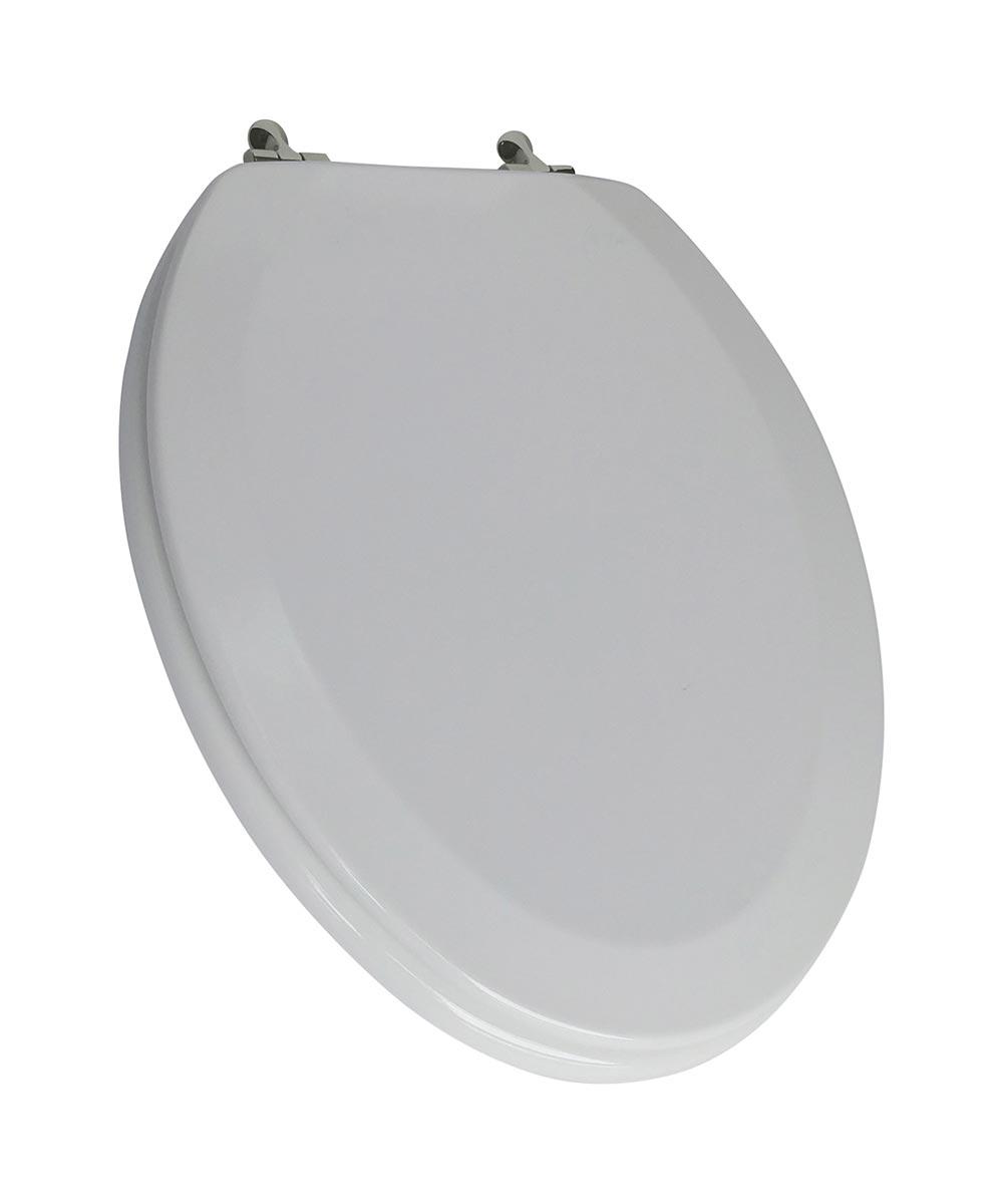 Jones Stephens Deluxe Elongated Wood Toilet Seat with High Gloss Enamel Finish & Brushed Nickel Metal Hinge, White