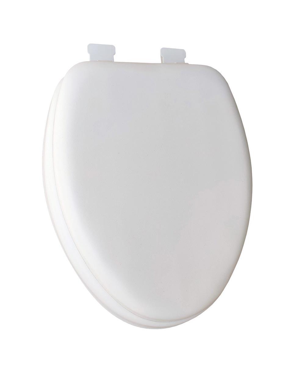 Jones Stephens Deluxe Soft Elongated Plastic Toilet Seat with Adjustable QuickKlean Hinge, White