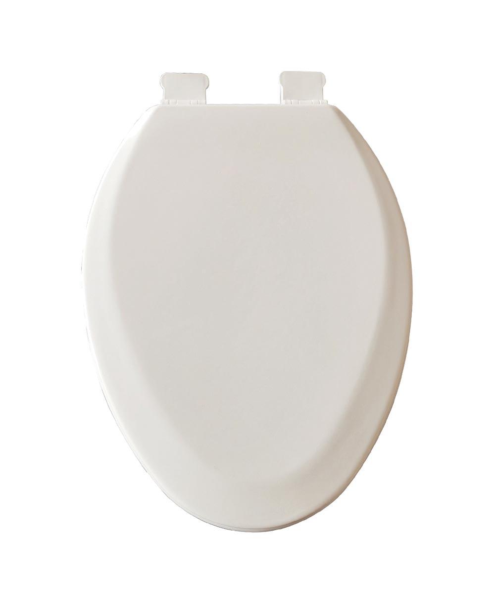 Jones Stephens Premium Elongated Wood Toilet Seat with High Gloss Enamel Finish & Adjustable QuicKlean Hinge, White