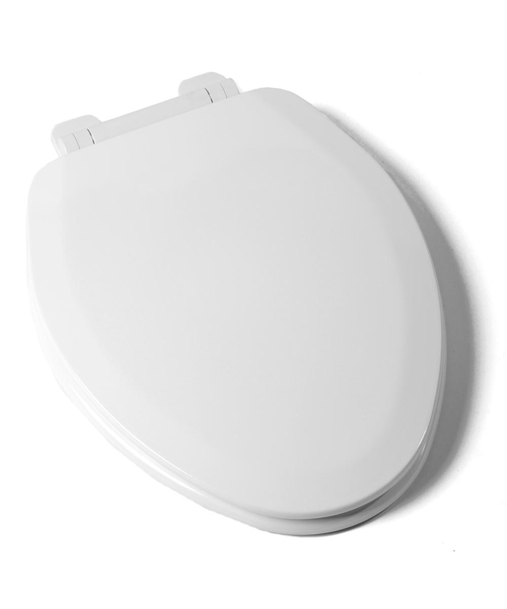 Jones Stephens Deluxe Slow Close Elongated Wood Toilet Seat with High Gloss Enamel Finish & Adjustable QuicKlean Hinge, White