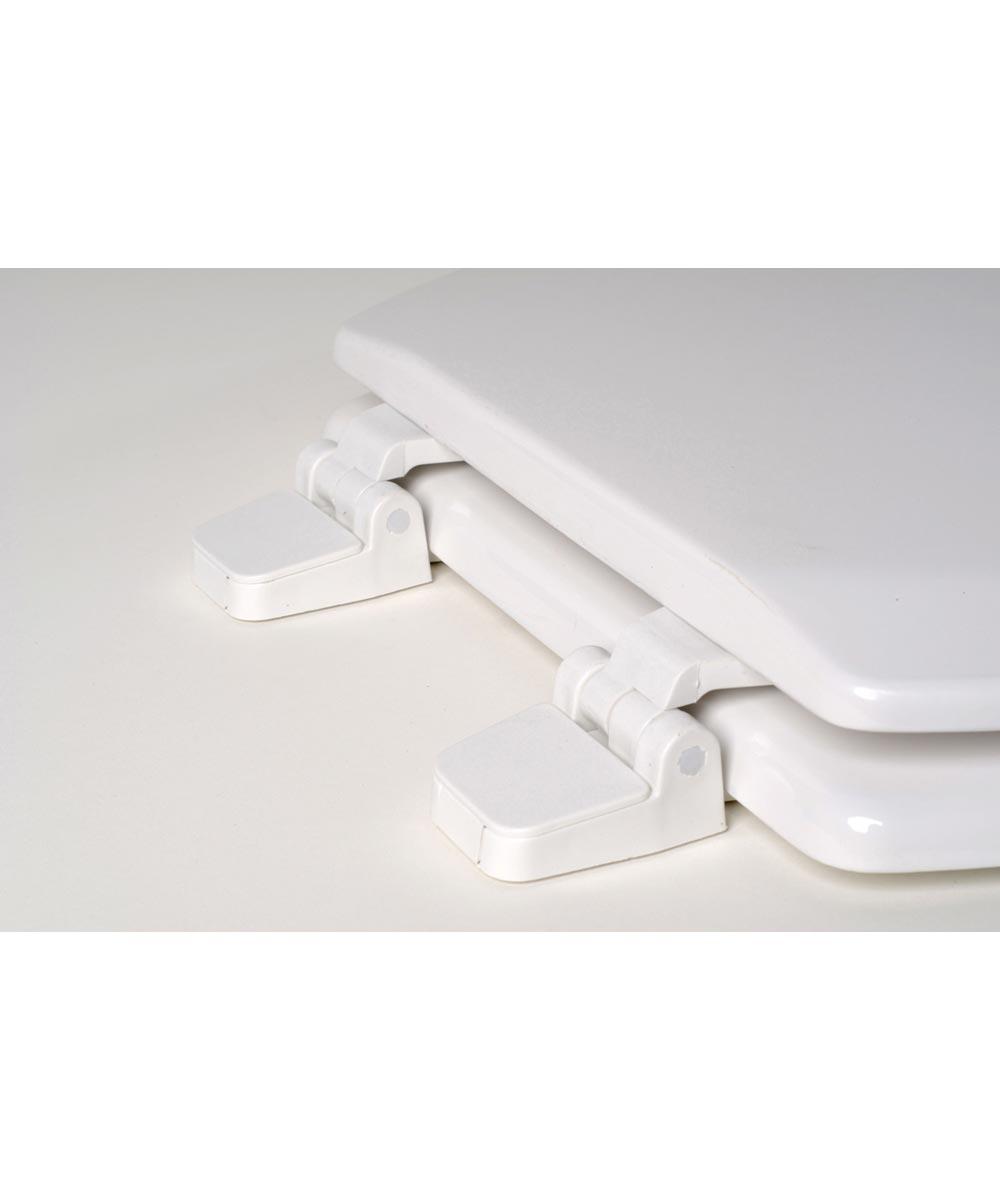 Jones Stephens Deluxe Round Wood Toilet Seat with High Gloss Enamel Finish & Adjustable Hinge, White