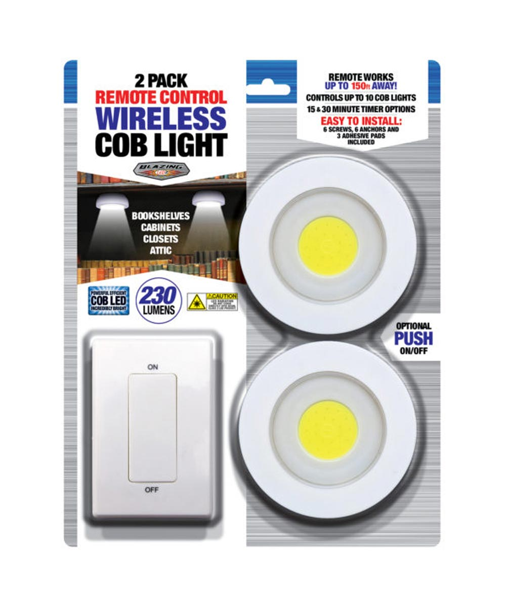 230 Lumen COB LED 2-Pack Wireless Puck Lights with Remote Control Switch