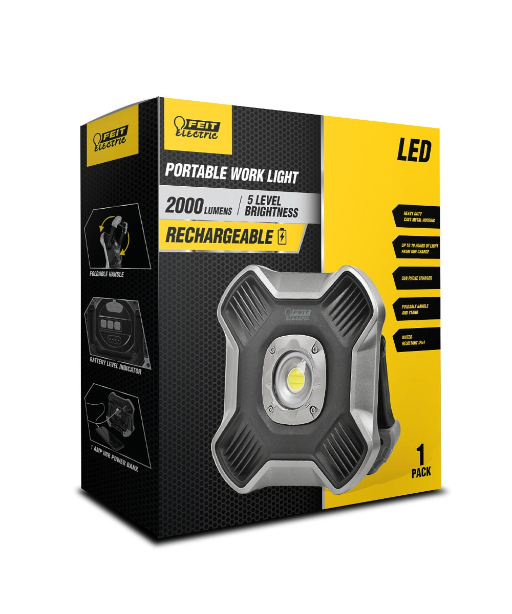 Feit Electric 2,000 Lumen 6500K LED Rechargeable IP54 Water & Dust Resistant Portable Work Light