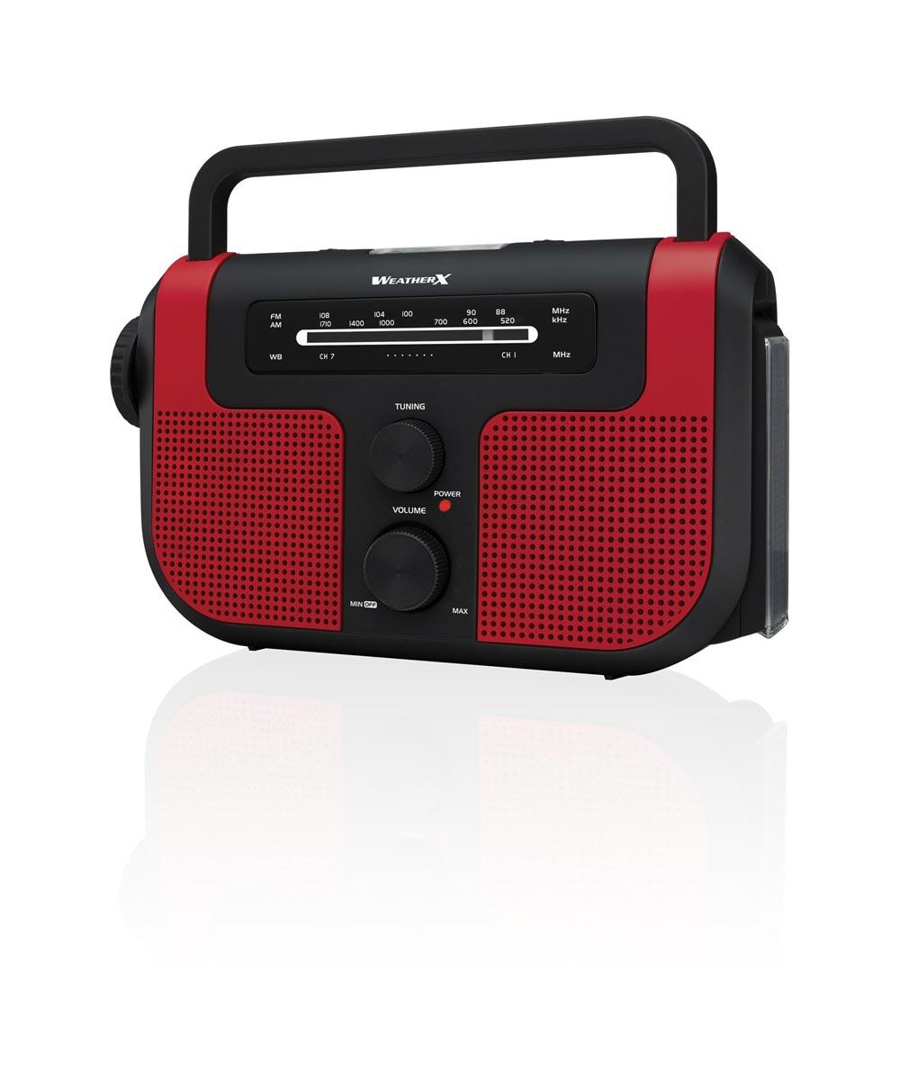 WeatherX Direct Tuning AM/FM Weather Band Radio with Flashlight / Lantern / USB Charger Port / Siren / Recharging Hand Crank & Solar Panel