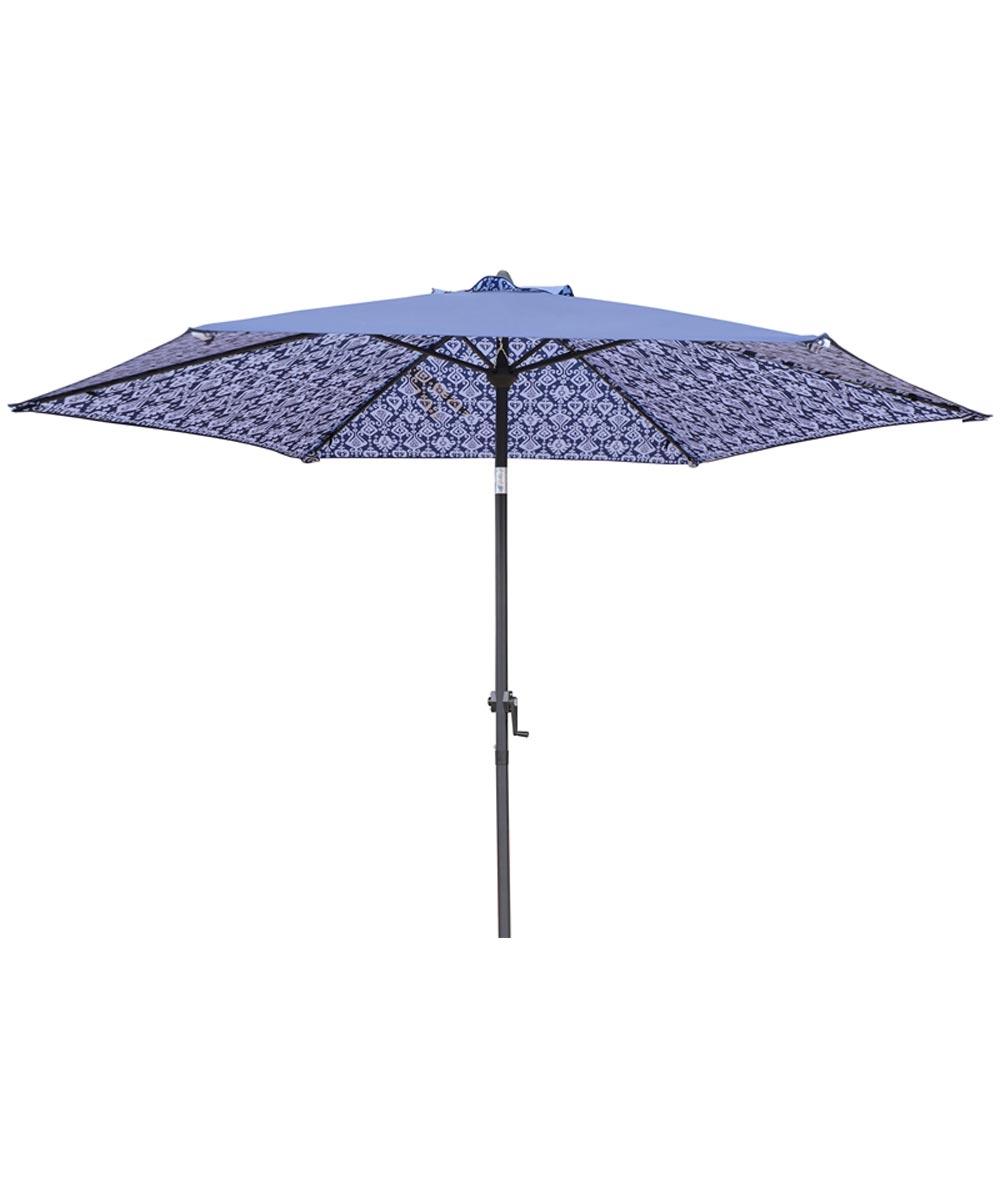 Seasonal Trends 9 ft. Crank Patio Umbrella, Double Print Blue & White