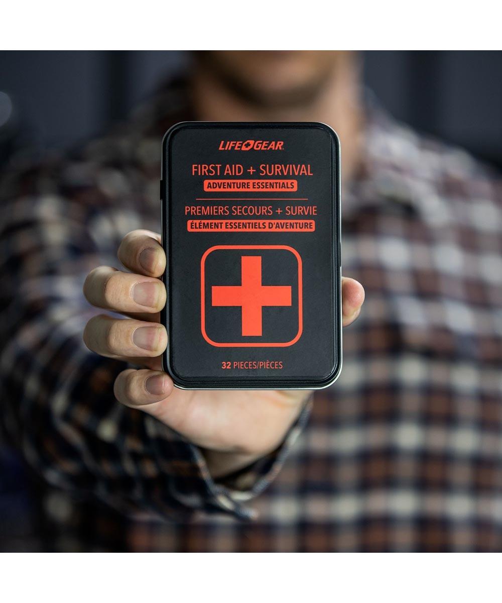 Life+Gear 32 Piece First Aid + Survival Adventure Essentials Kit with Metal Storage Tin