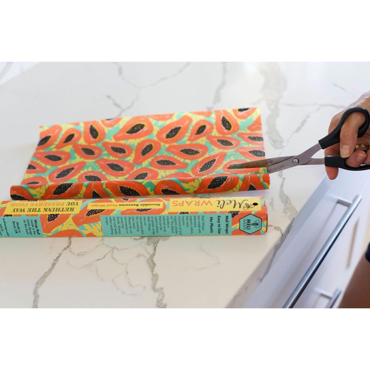 Meli Wraps Bulk Roll (42 in. x 13.5 in.) Reusable Beeswax Food Wrap, Tropical Papaya Print