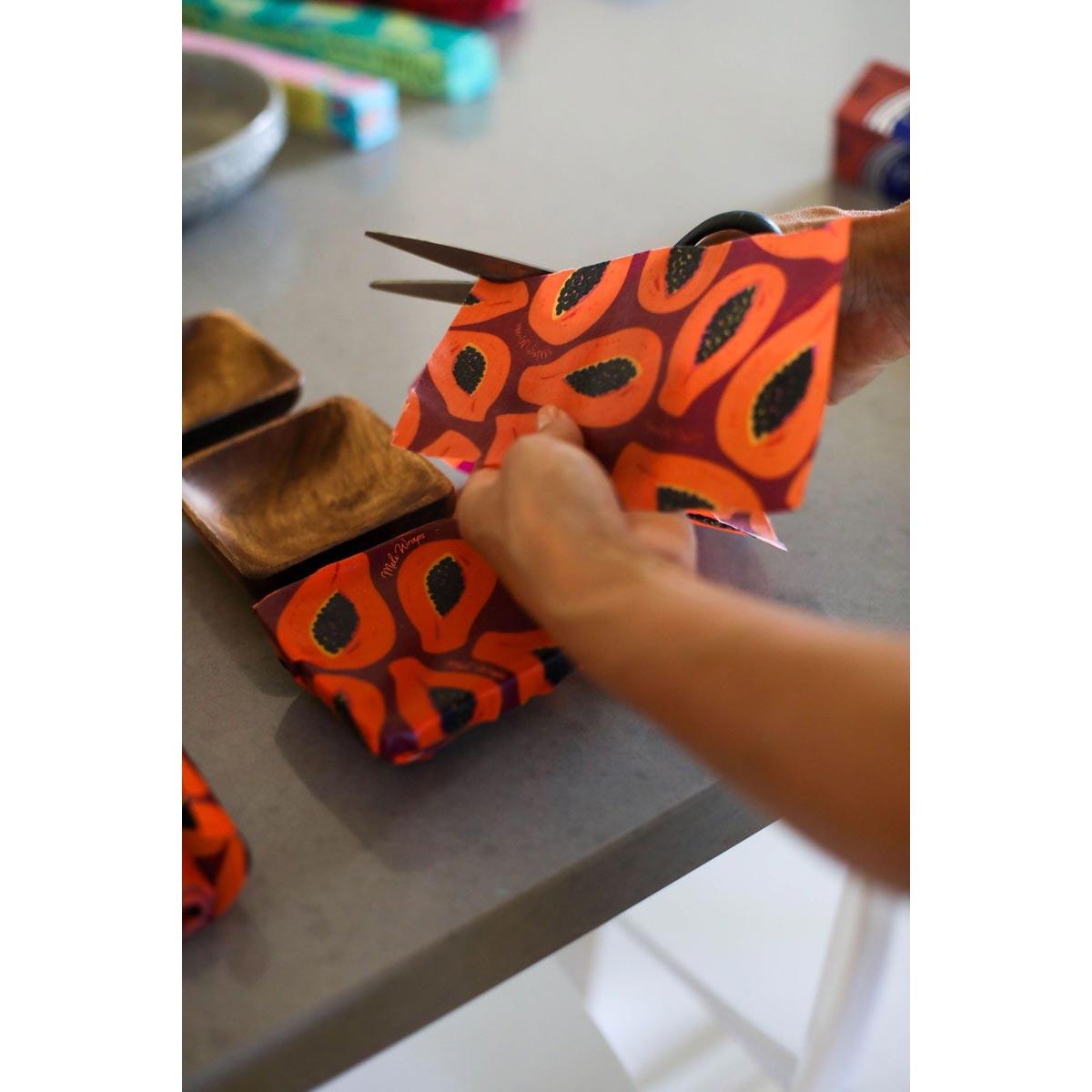 Meli Wraps Bulk Roll (42 in. x 13.5 in.) Reusable Beeswax Food Wrap, Purple Papaya Print