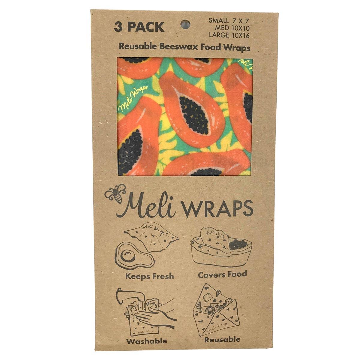 Meli Wraps 3-Pack (Sm/Med/Lrg) Reusable Beeswax Food Wrap, Tropical Papaya Print