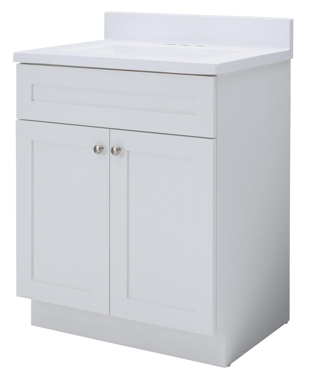 Foremost 24 In X 18 In Cason Bathroom Vanity With Cultured Marble Top Flat White City Mill