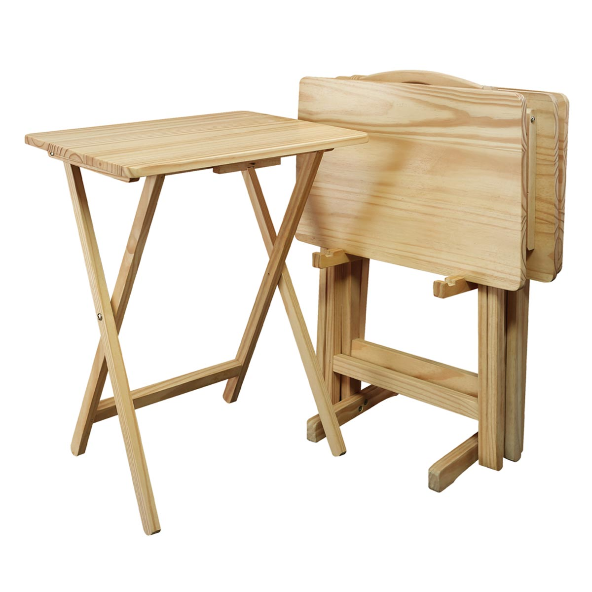 5-Piece Solid Wood Folding Tray Table Set with 4 Tables & 1 Stand