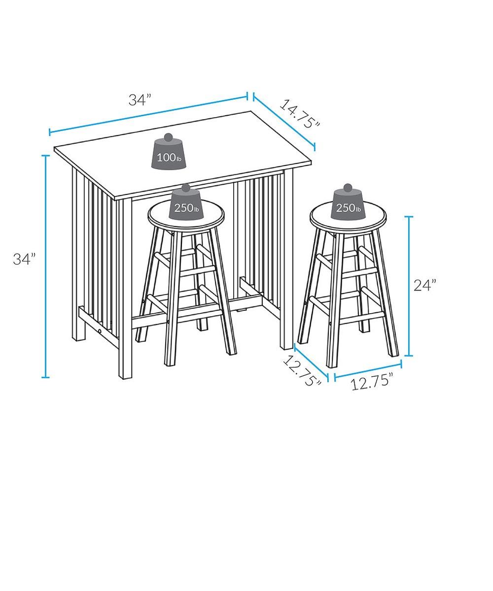 3-Piece Solid Wood Breakfast Table & Stool Set