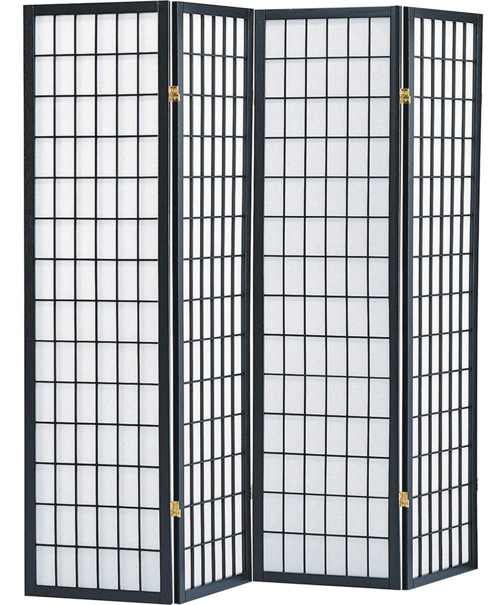 4-Panel Shoji Screen Room Divider, Black Grid Design