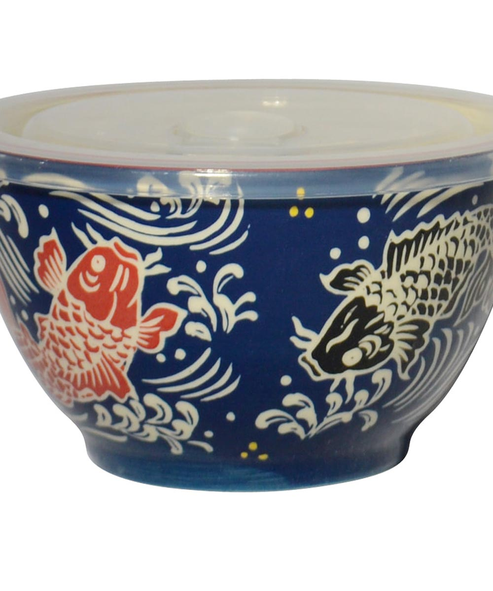 6 in. Microwavable Porcelain Bowl with Lid, Koi Design