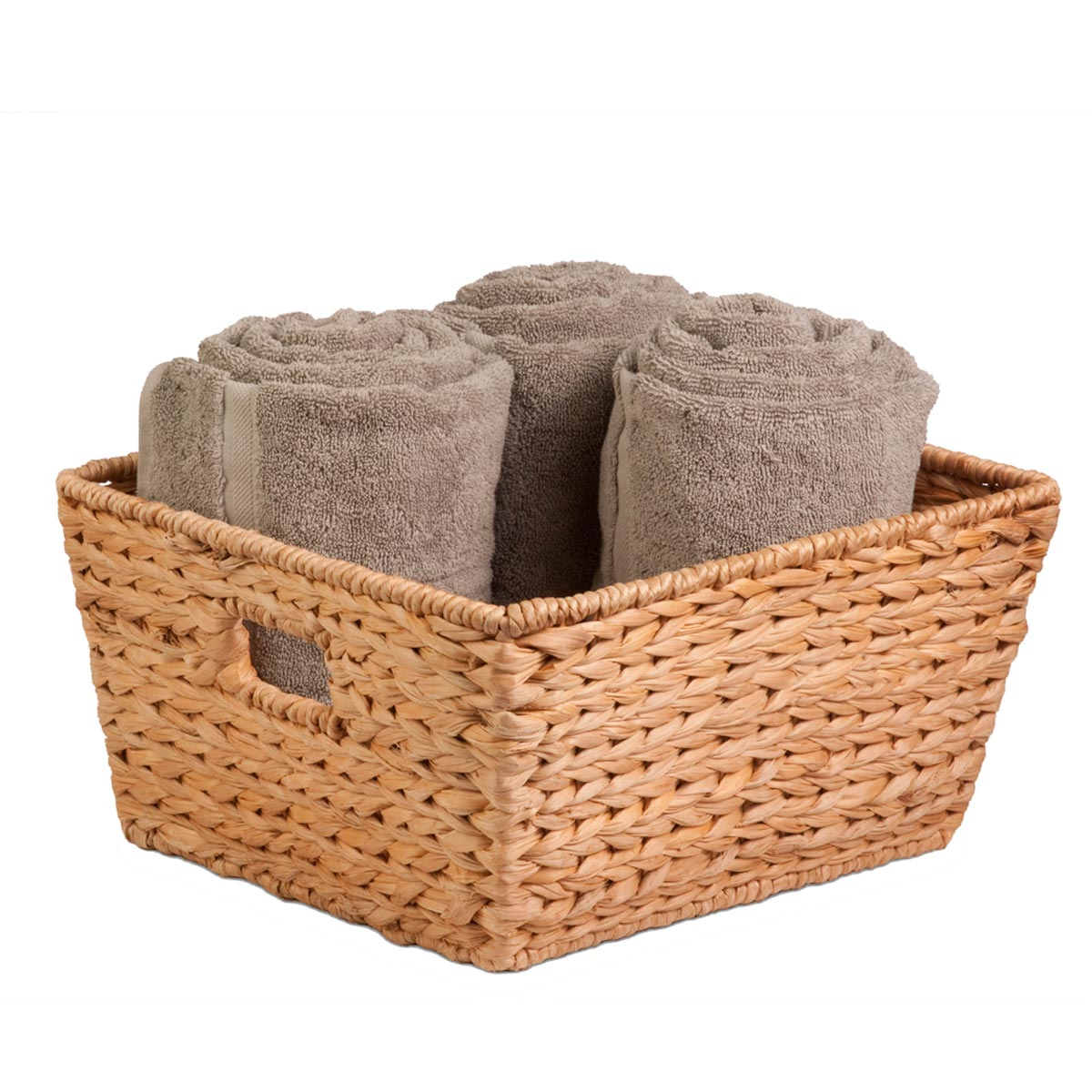 15 in. x 15 in. x 8 in. Square Natural Hyacinth Storage Basket, Large