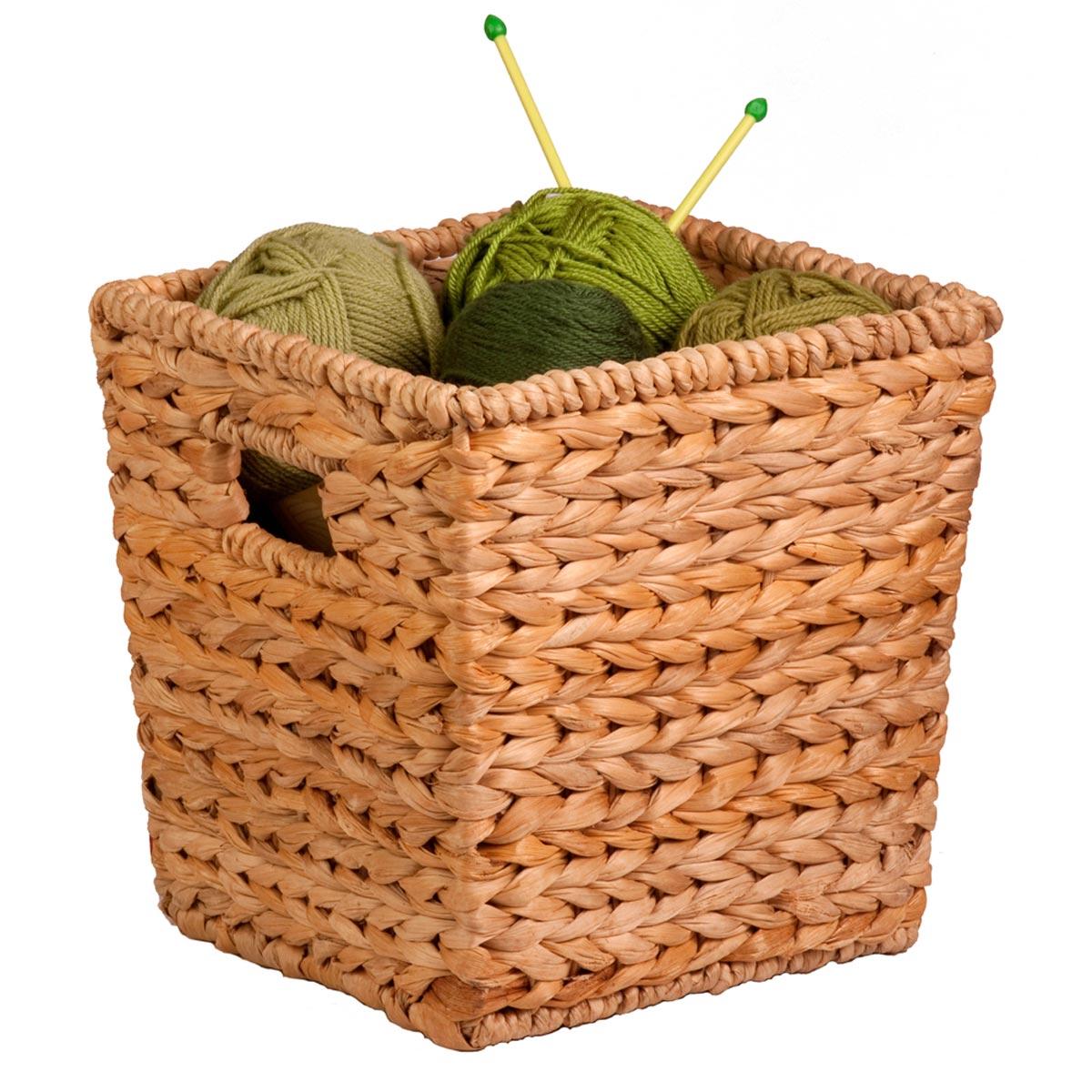 10.5 in. x 10.5 in. x 10.5 in. Square Natural Hyacinth Storage Basket, Medium