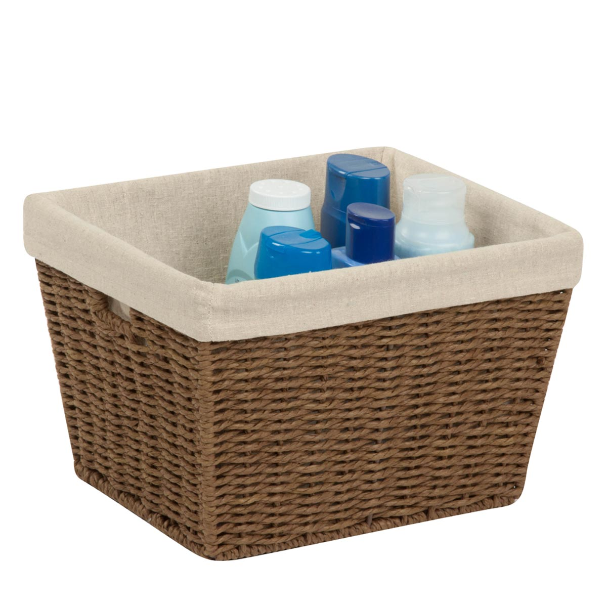 10 in. x 12 in. x 8 in. Brown Parchment Cord Storage Basket with Liner, Medium
