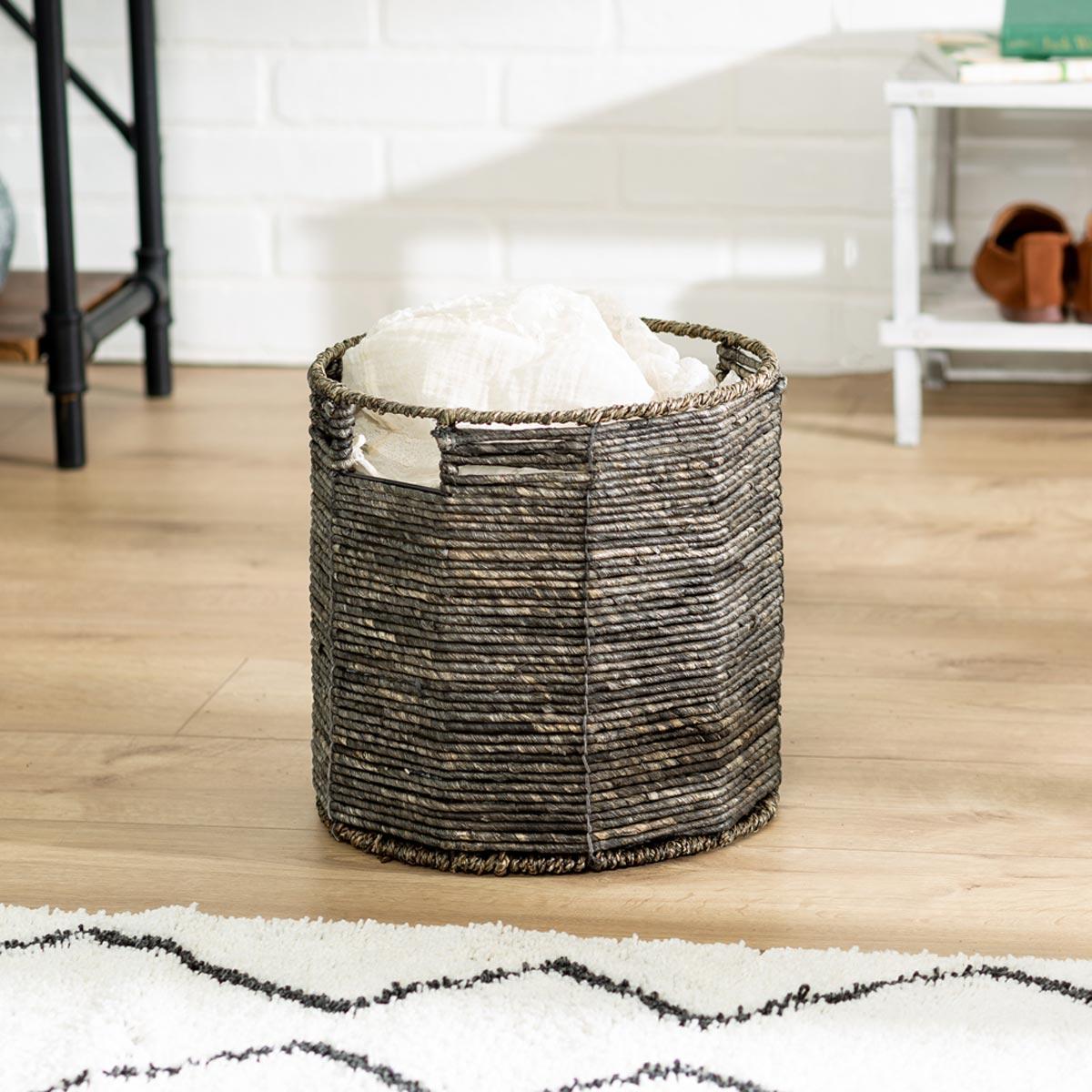 11 in. x 11 in. Geo Round Woven & Steel-Frame Storage Basket, Small
