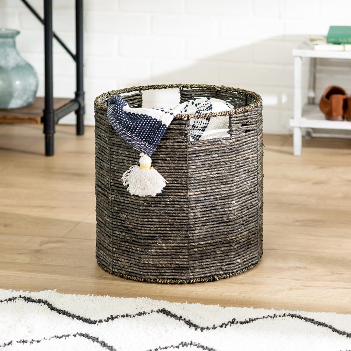 13.4 in. x 13.4 in. Geo Round Woven & Steel-Frame Storage Basket, Medium