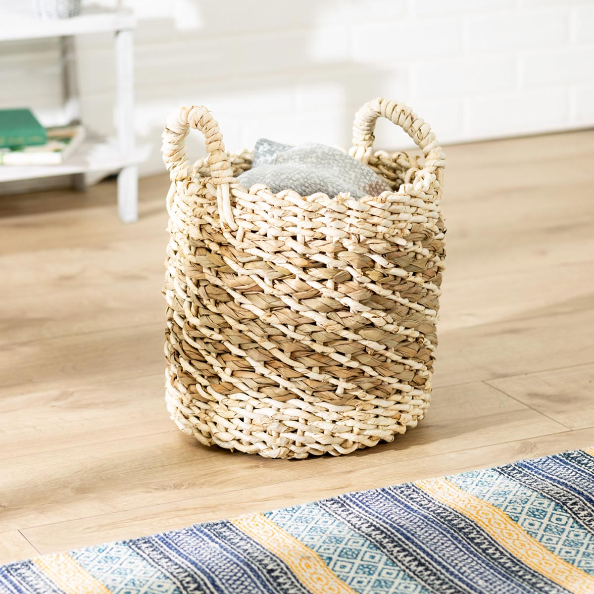 11 in. x 11 in. Tea Stained Round Woven Storage Basket, Small