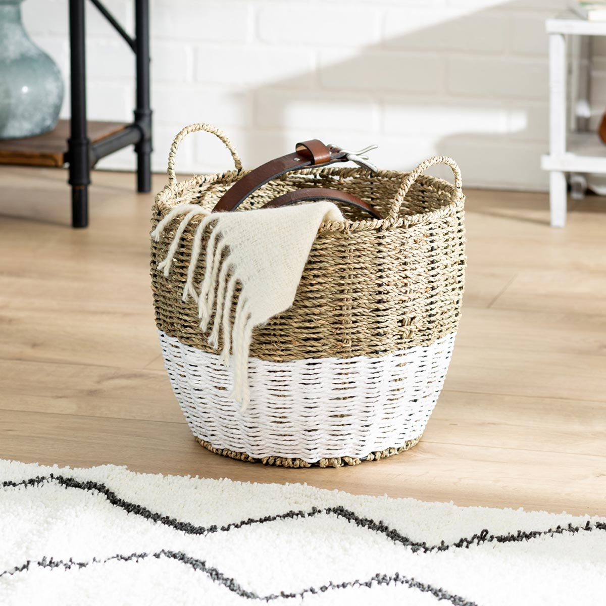 12 in. x 10 in. Natural/White Seagrass Round Storage Basket with Handles, Small