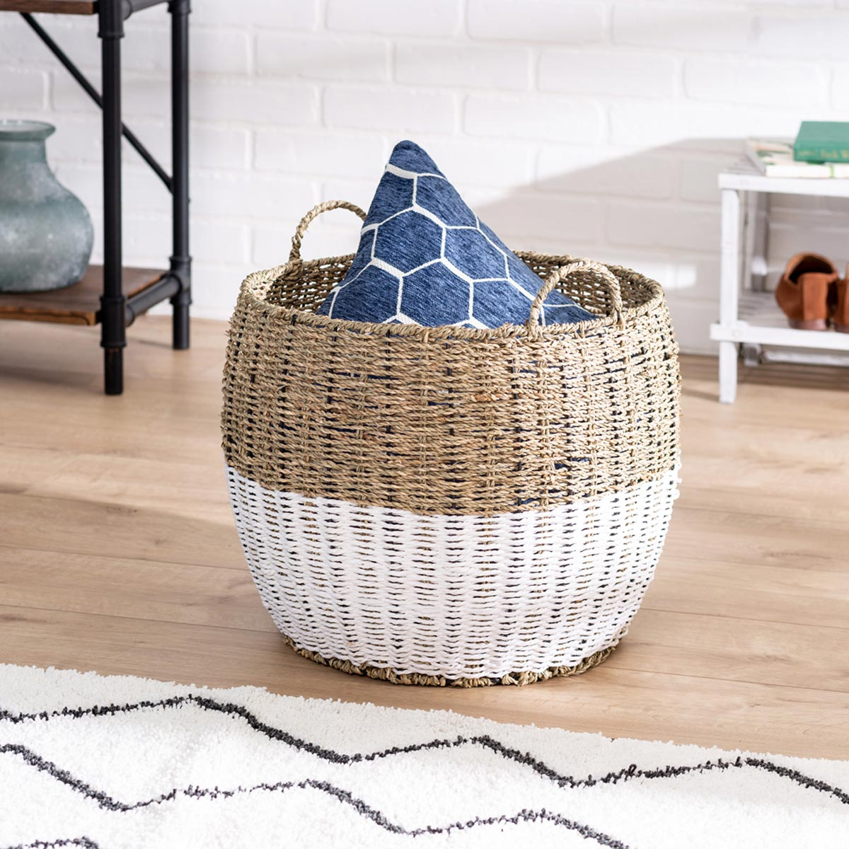 16 in. x 14 in. Natural/White Seagrass Round Storage Basket with Handles, Large