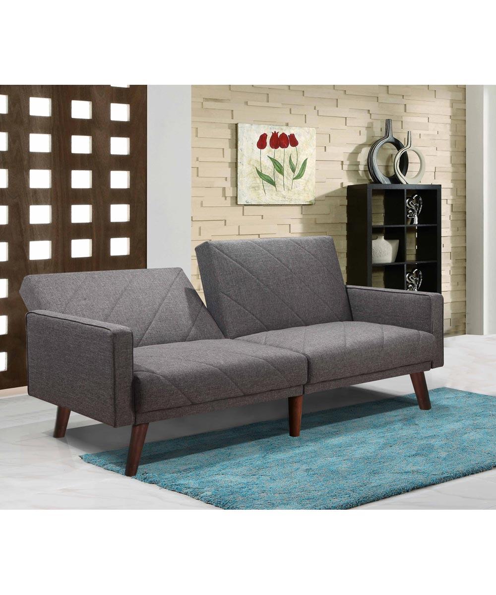 Split Back Linen Fabric Futon Sofa Bed with Diagonal Line Design, Gray