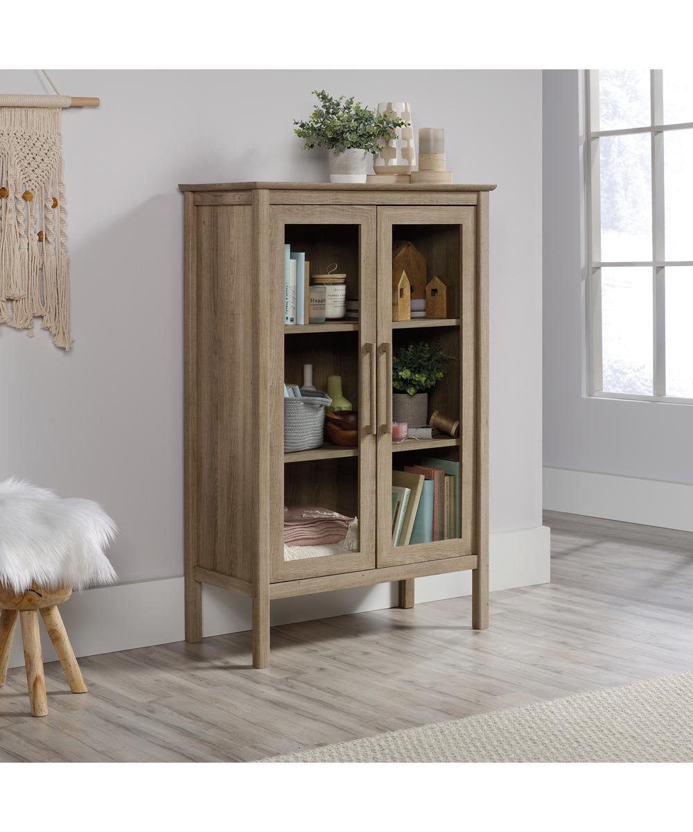 Anda Norr Display Cabinet with Glass Panel Doors, Sky Oak