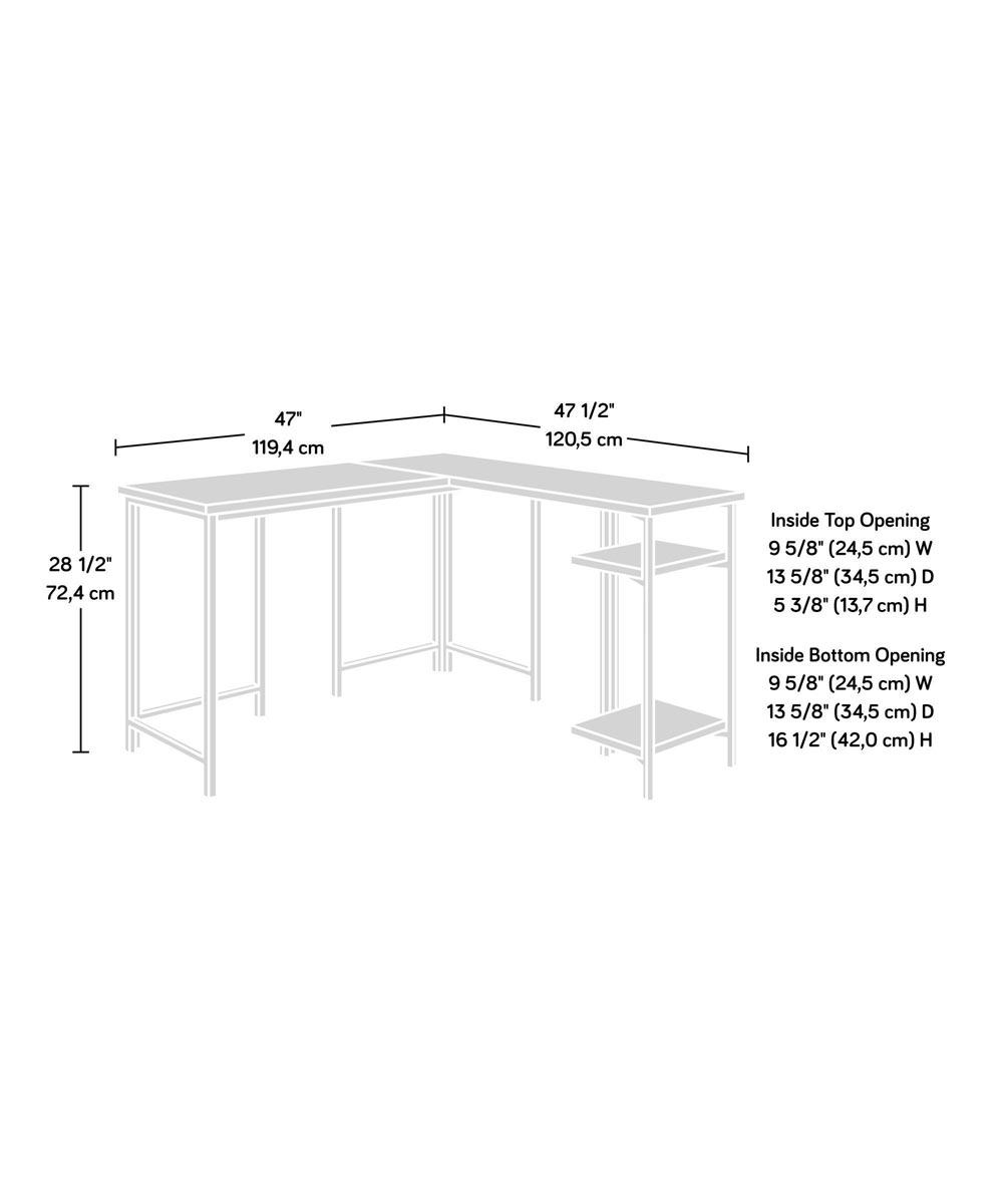 North Avenue L-Shaped Desk with 2 Storage Shelves, Sindoori Mango