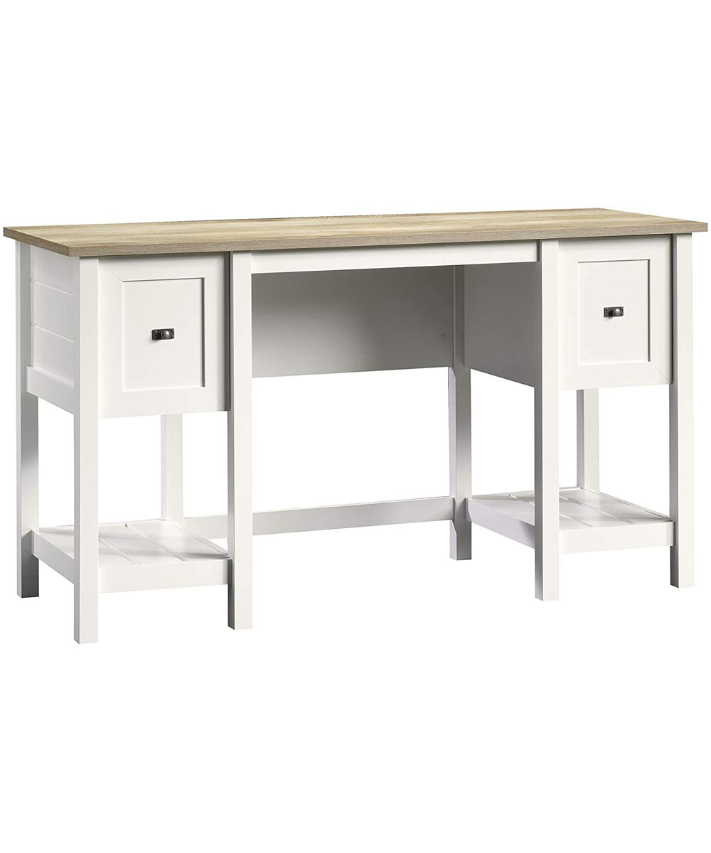 Cottage Road 53 in. Wide Desk with 2 Drawers & 2 Storage Shelves, Soft White