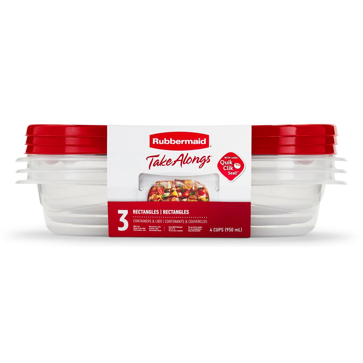 Rubbermaid TakeAlongs 3-Pack 4 Cup Rectangles Food Containers with Lids
