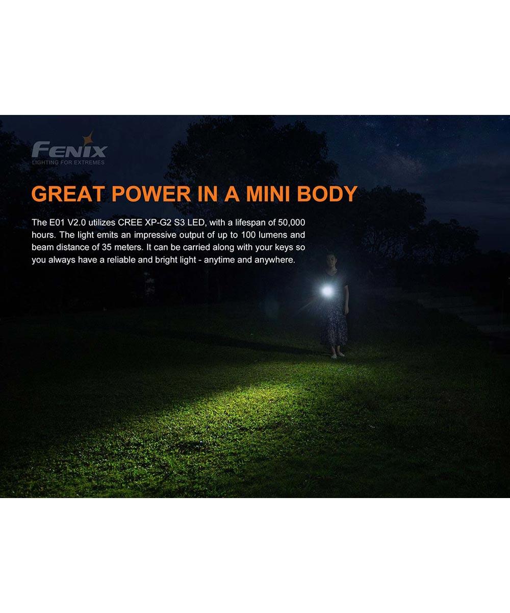 Fenix E01 V2.0 100 Lumen LED Flashlight, 1AAA