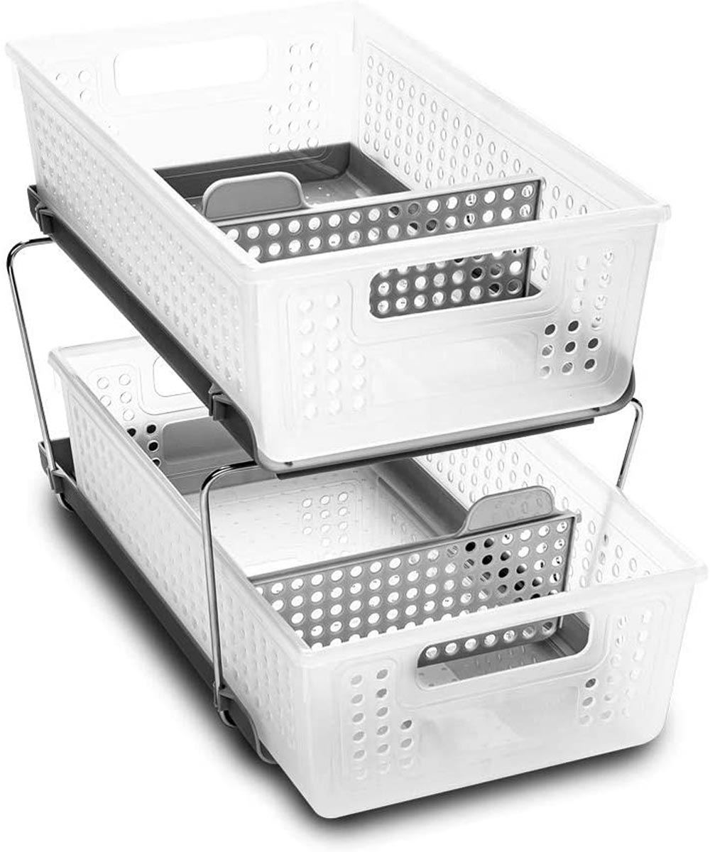 2-Tier Organizer with Dividers, Frost