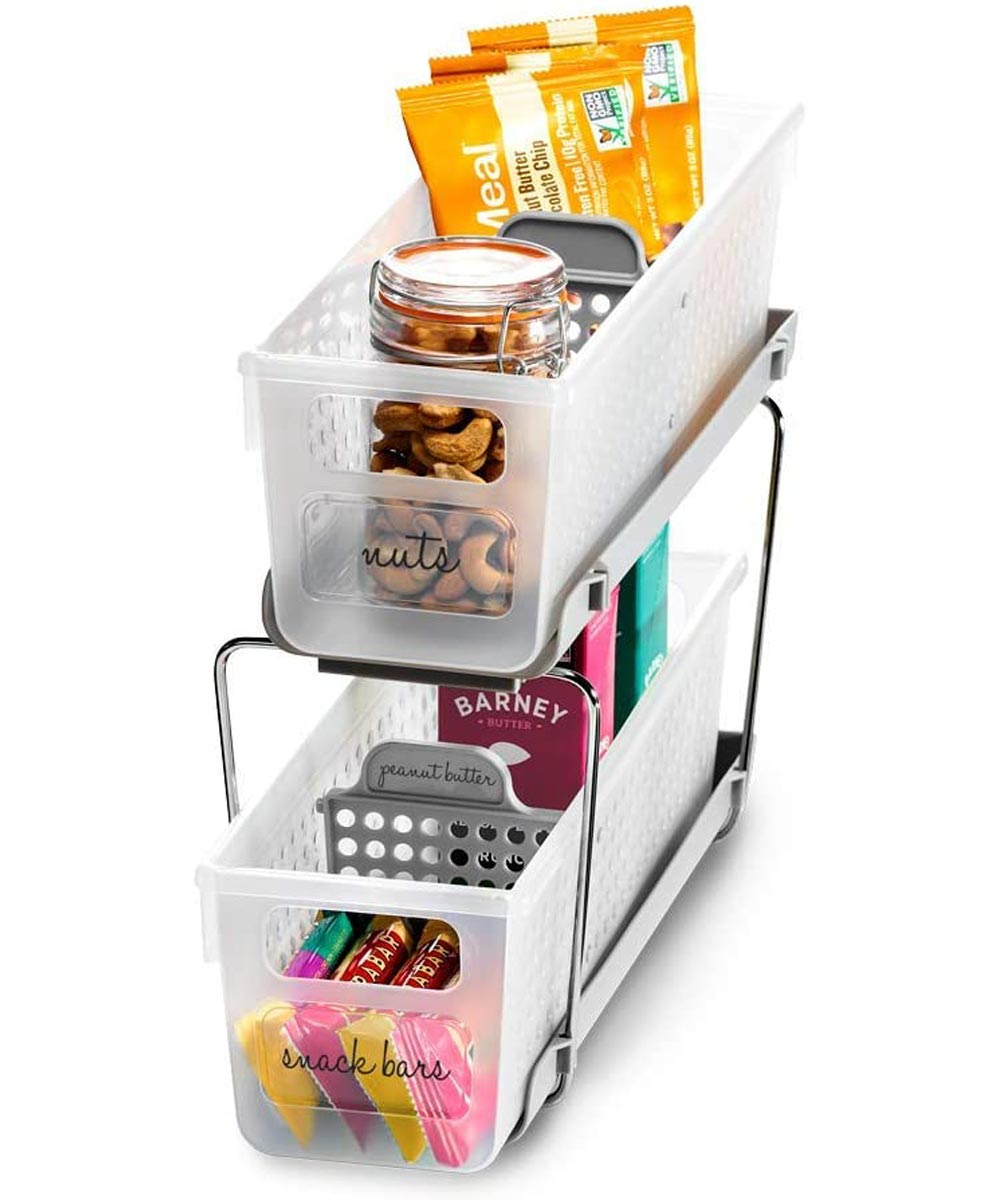 Mini 2-Tier Organizer with Divders, Frost