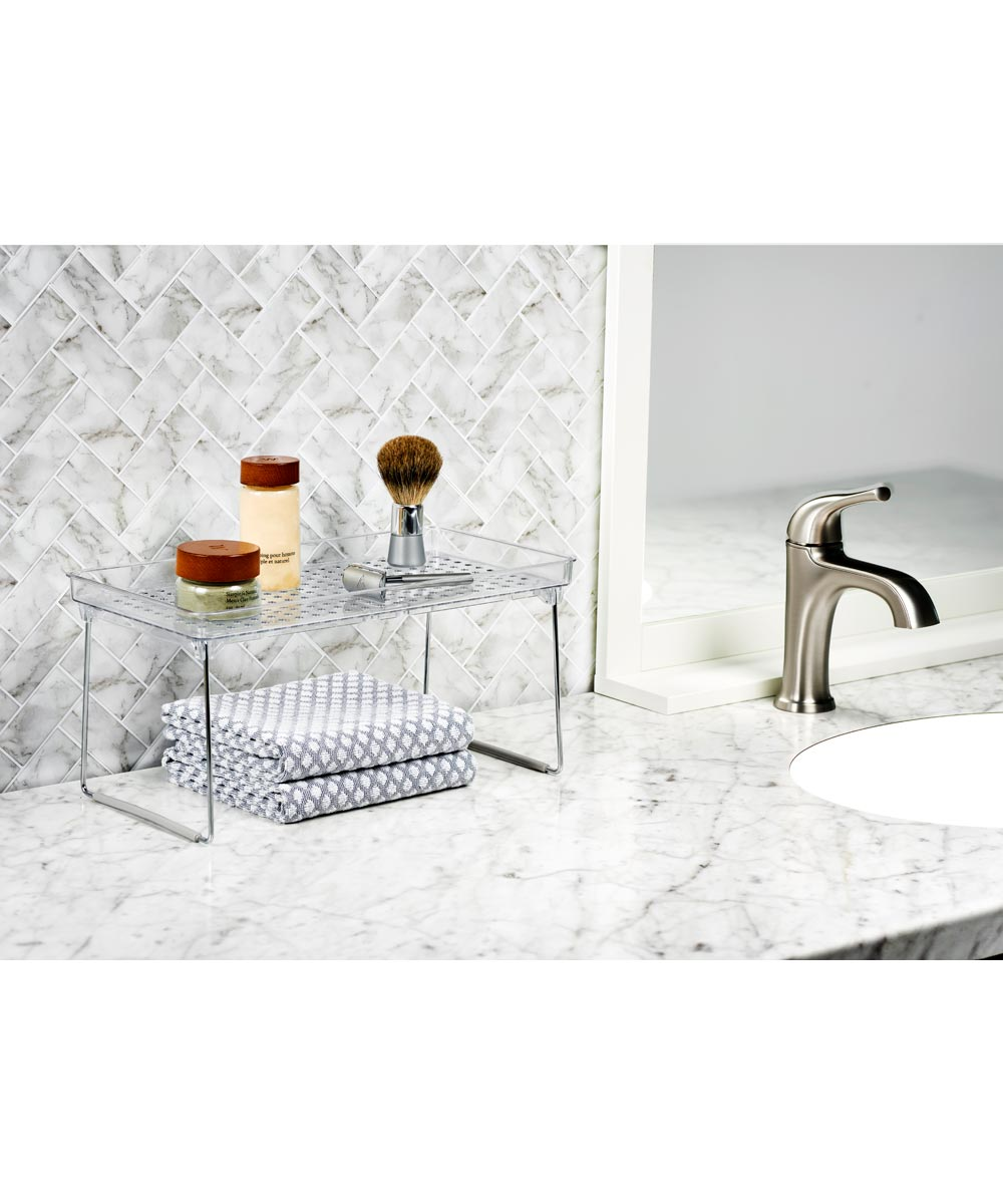 Stacking Shelf with Holes, Medium, Frost