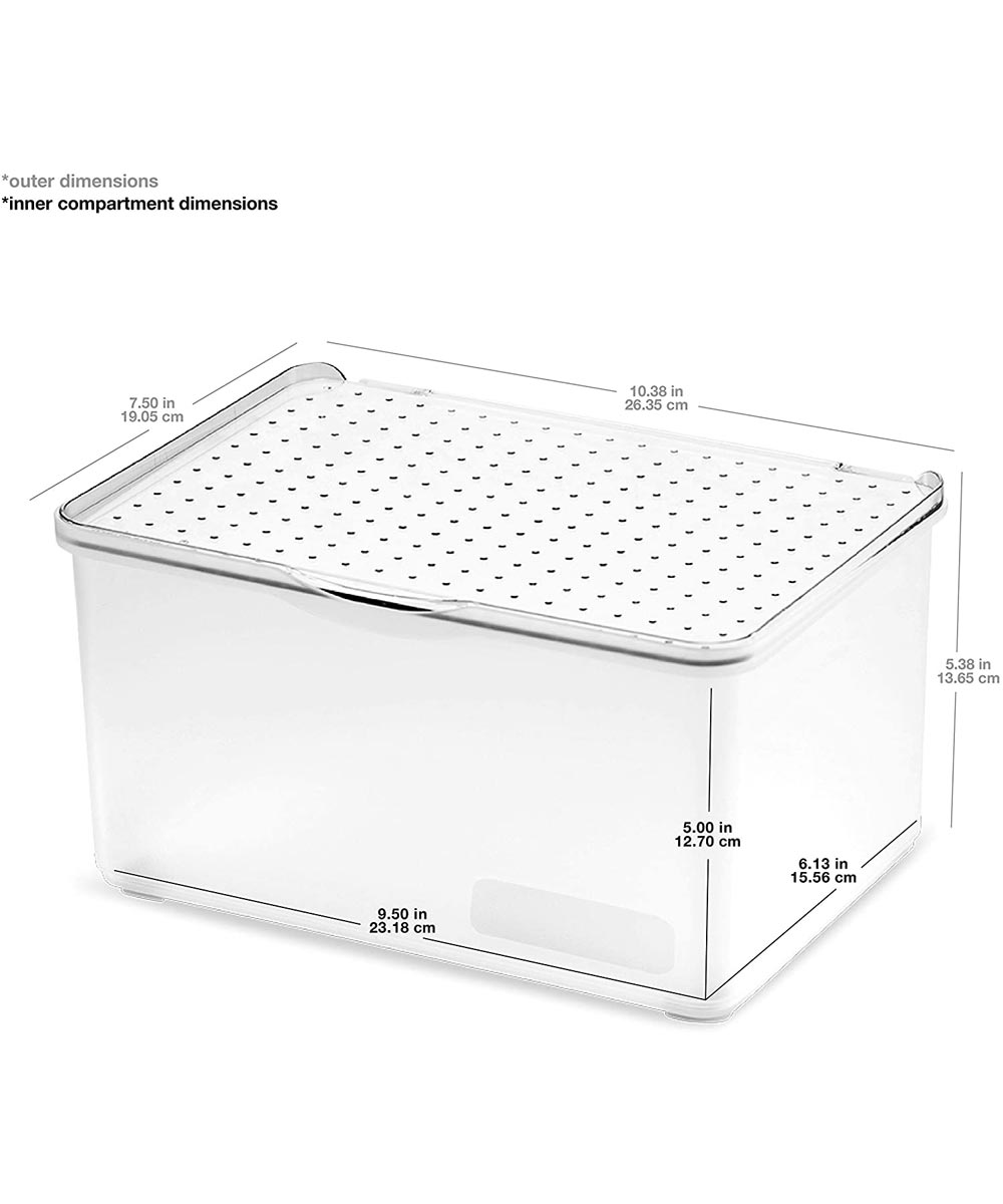 Stack Collection Medium Lid Bin, Frost
