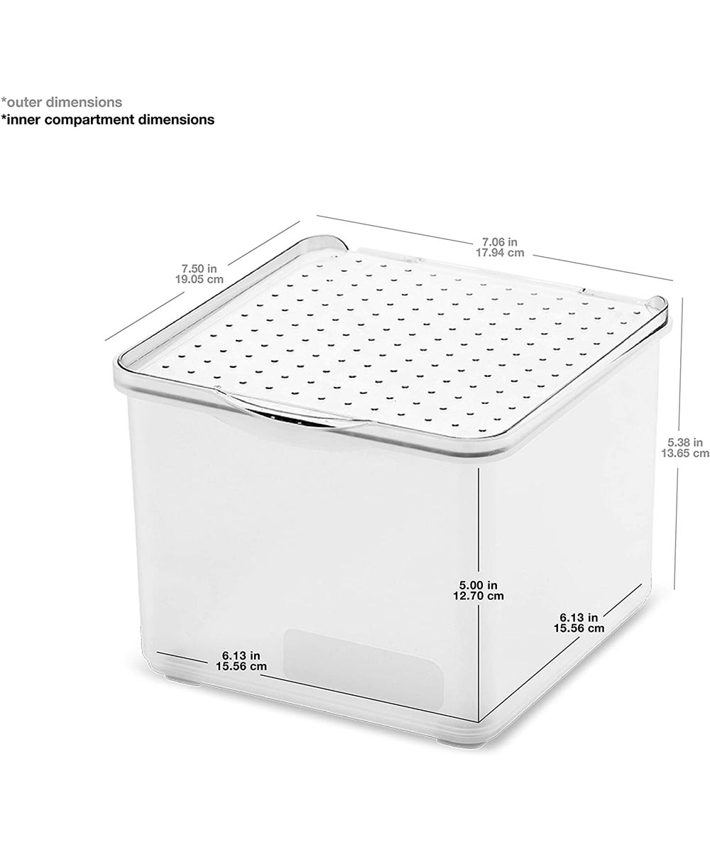 Stack Collection Small Lid Bin, Frost