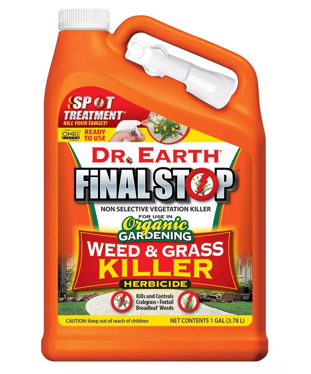 Dr. Earth Organic and Natural FINAL STOP Weed & Grass Herbicide, 1 Gallon Ready-to-Use with Pistol Sprayer