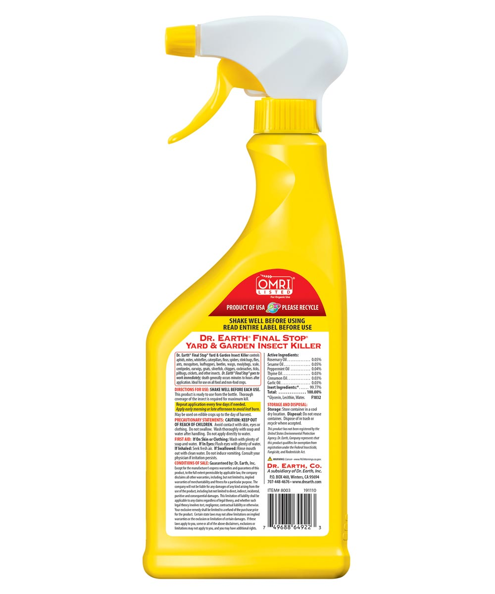 Dr. Earth Organic and Natural FINAL STOP Yard & Garden Insect Killer, 24 oz. Spray Ready-to-Use
