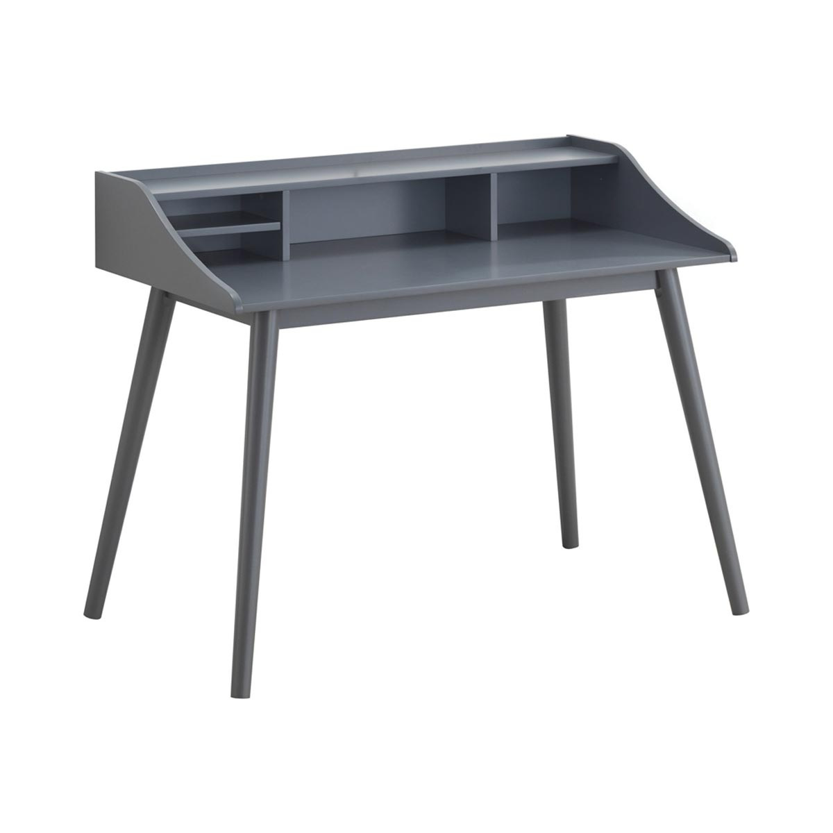 Percy 44.5 in. Wide 4-Compartment Writing Desk, Gray