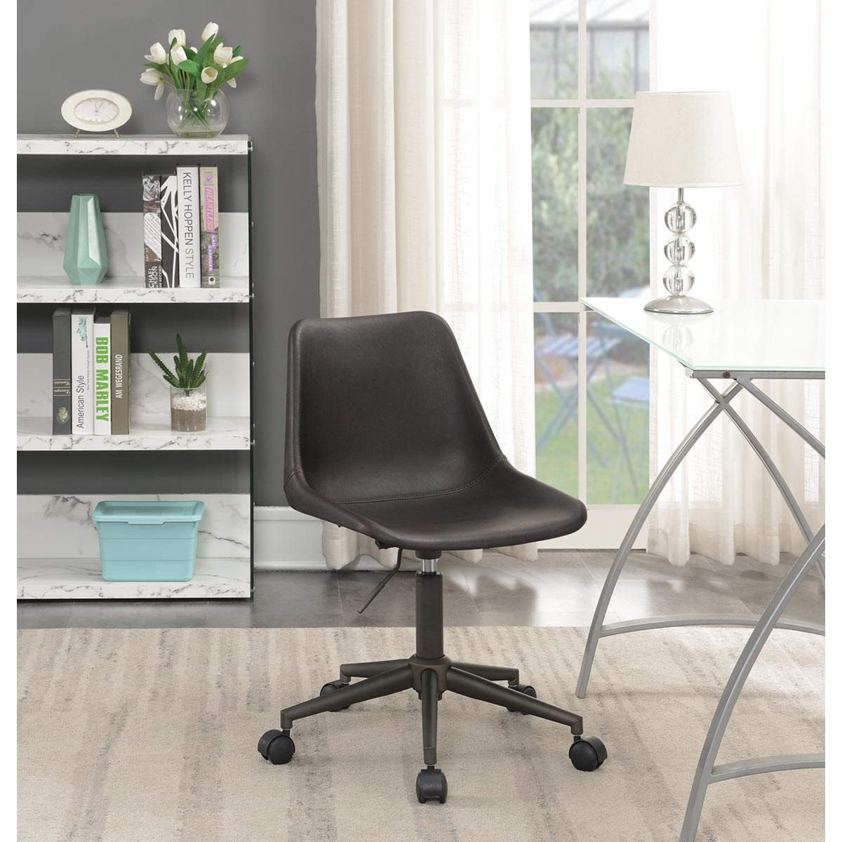 Low-Back Adjustable Height Faux Leather Office Chair, Brown/Rustic Taupe