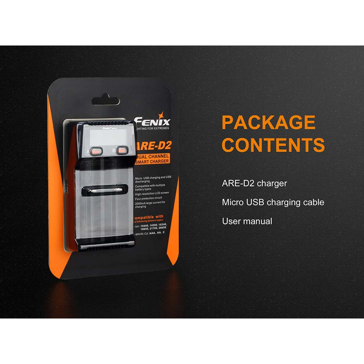 Fenix ARE-D2 Dual-Slot Battery Charger for Li-ion / Ni-MH / Ni-Cd Rechargeable Batteries & USB Charging