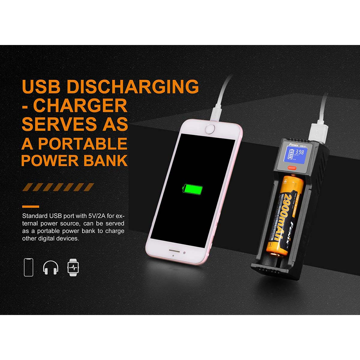 Fenix ARE-D1 Single-Slot Battery Charger for Li-ion / Ni-MH / Ni-Cd Rechargeable Batteries & USB Charging