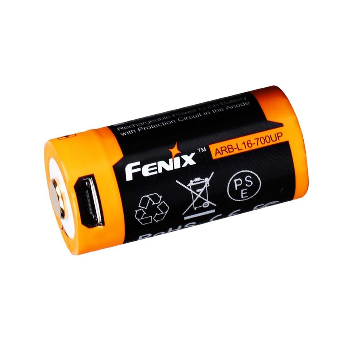 Fenix 16340 Li-ion 700mAh Rechargeable Battery with Built-In USB Charging Port