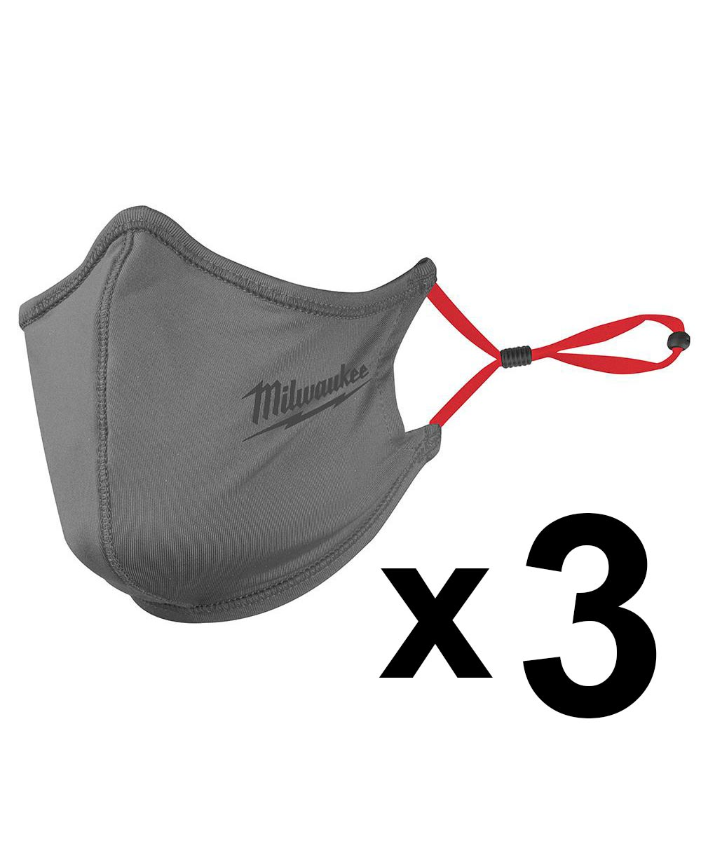 Milwaukee 2-Layer Face Mask, One-Size-Fits-Most, Gray, 3 Pack