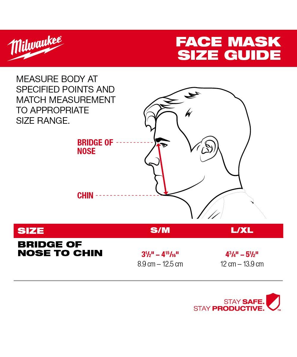 Milwaukee 3-Layer Performance Face Mask, Small / Medium, Black