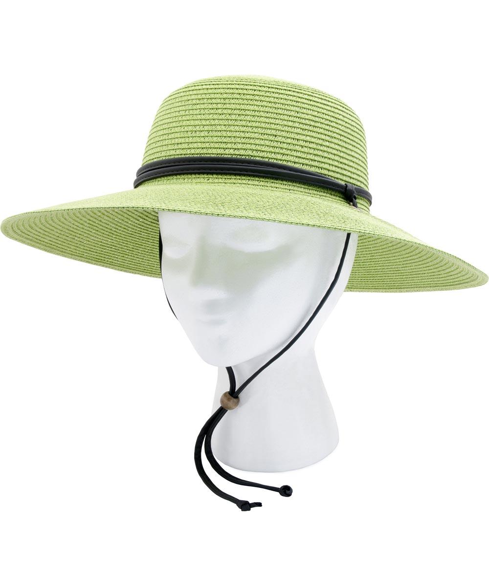 Women's Green Braided Sun Hat With 50+ UPF