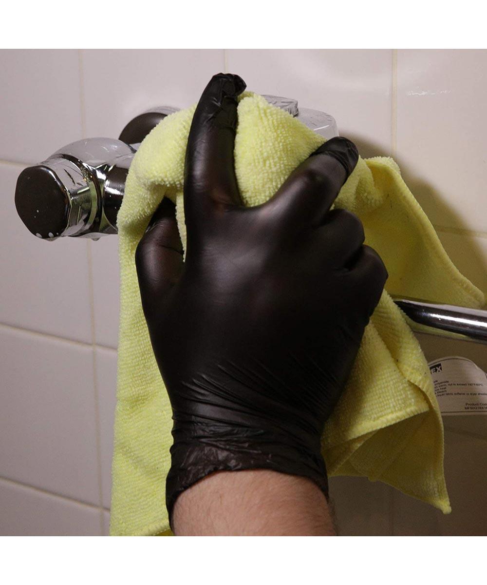Ammex Gloveworks Medium Black Vinyl Powder-Free Gloves, 100 Count