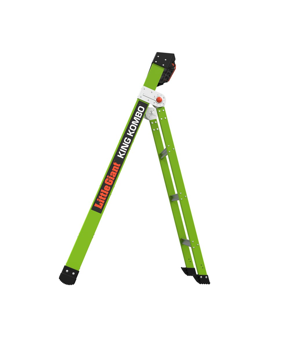 Little Giant King Kombo 5 ft. 3-in-1 Fiberglass Combination Step / Straight / Lean-To Ladder with Rotating Wall Pads, Type IAA 375 lb. Load